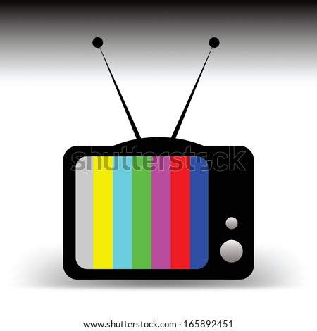 Old TV with antennas cartoon concept, no signal - stock vector