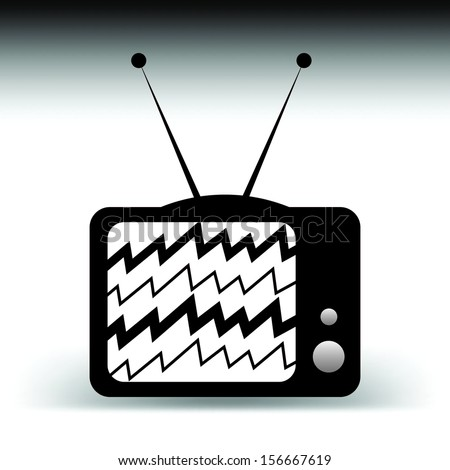 Old TV with antennas cartoon concept, signal with noise - stock vector
