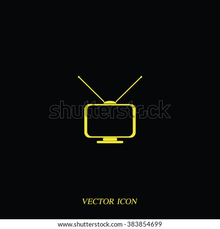 Old TV with antennas. Flat icon. - stock vector