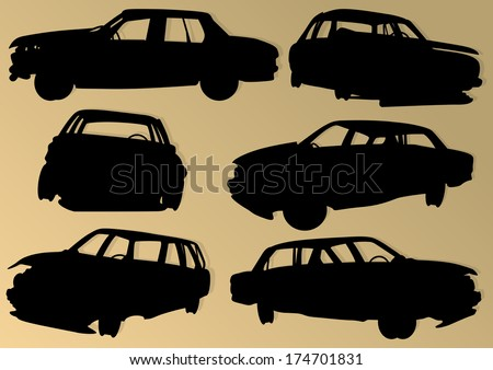 Old used automobile cars metal scrapyard graveyard landscape in industrial metal recyclable ecology concept vector background illustration - stock vector