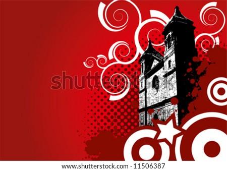 old vector church - stock vector