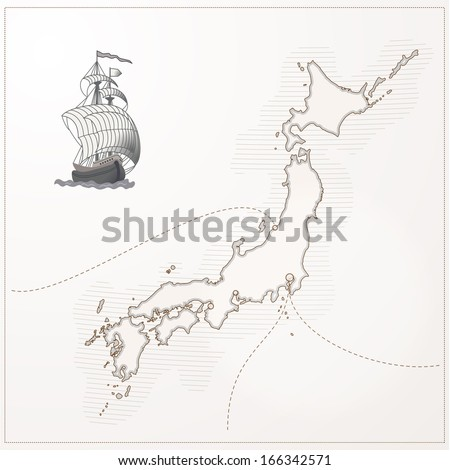 old vector Japan map - stock vector