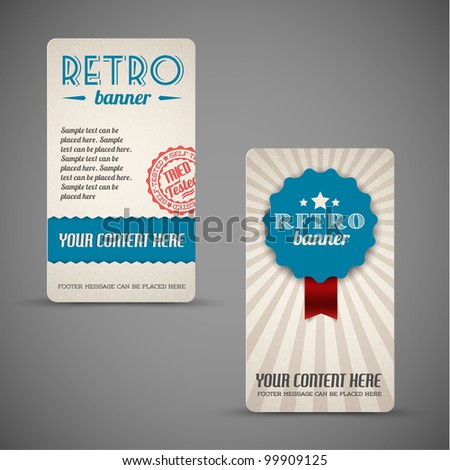 Old vector retro vintage grunge cards  - blue version - stock vector