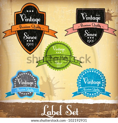 Old vector round retro vintage label set - stock vector