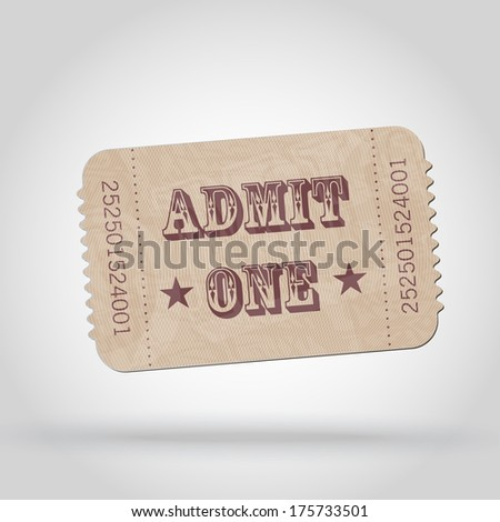 Old Vector vintage paper ticket - admit one  - stock vector