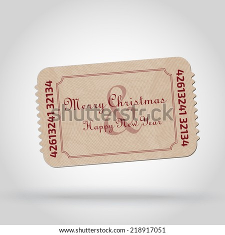 Old Vector vintage paper ticket - christmas theme - vector element for design   - stock vector