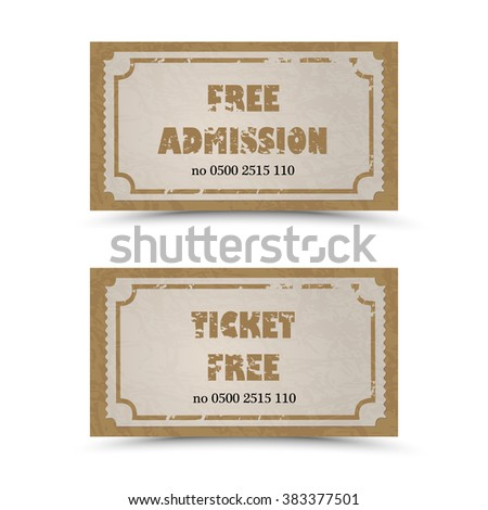 Old Vector vintage paper tickets - admit one