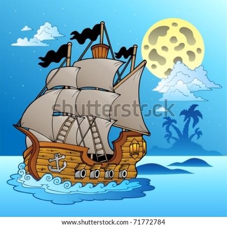 Old vessel in night seascape - vector illustration. - stock vector