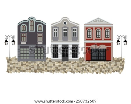 Old Viennese houses, vintage, architecture - stock vector