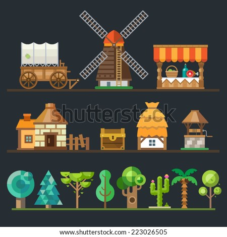 Old village. Different objects, sprites: wagon, cart, mill, trading shop, stone house, a hut with a thatched roof, wooden well, chest. Trees and plants: oak, tree, palm, cactus. Vector flat style - stock vector