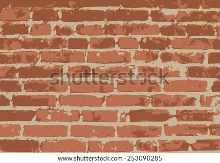 Old vintage brick wall. Background, pattern. Vector illustration - stock vector