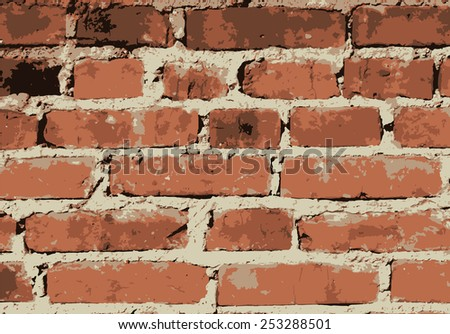 Old vintage brick wall. Background, pattern. Vector illustration - stock vector