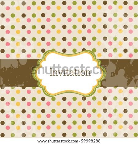 Old  vintage card with polka dot design - stock vector