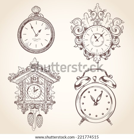 Old vintage clock and stopwatch sketch set isolated vector illustration - stock vector