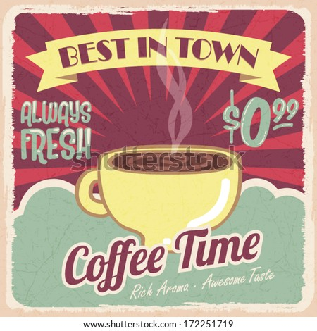 Old vintage coffee poster, retro style, design elements, vector illustration