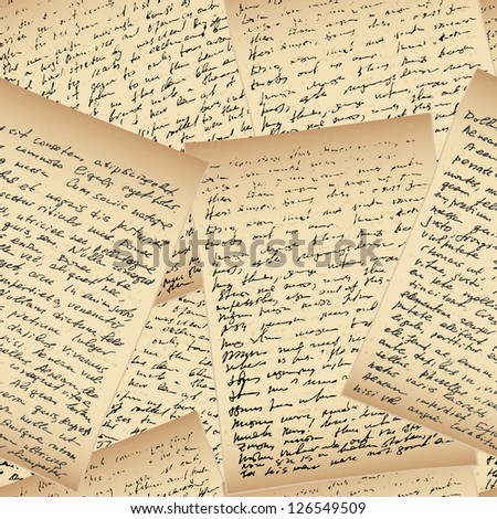 Old vintage handwriting letter, seamless background - stock vector
