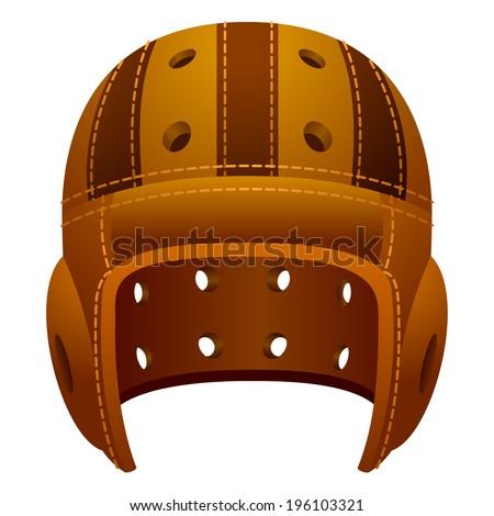 Old, vintage leather american football sport helmet. - stock vector