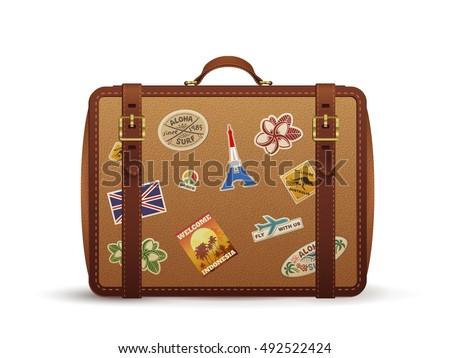 old vintage leather suitcase travel stickers stock vector 492522424 shutterstock. Black Bedroom Furniture Sets. Home Design Ideas