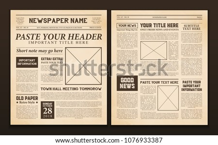 Old Vintage Newspaper 2 Realistic Pages Stock Vector 1076933387
