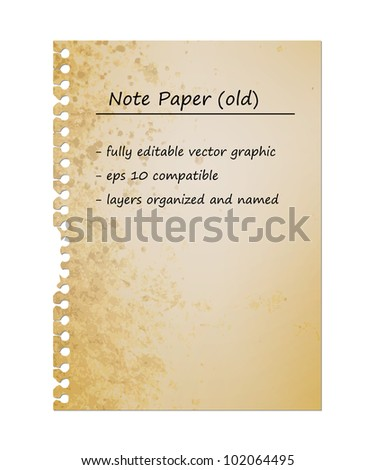 Old Vintage Note Paper, Blank Sheet   EPS10 Vector Graphic   Layers Organized and Named - stock vector