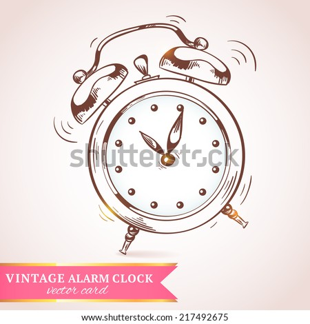 Old vintage retro sketch ringing alarm clock paper postcard vector illustration - stock vector