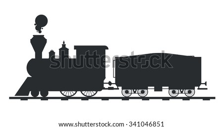 Old vintage retro transportation train vector black and white silhouette. Old train vector illustration on white background. Train silhouette isolated. Old vintage retro train cargo vector travel - stock vector