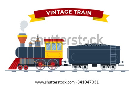 Old vintage retro transportation train vector collection. Trains vector illustration on white background. Trains silhouette isolated white. Old vintage retro transportation train cargo vector railway - stock vector