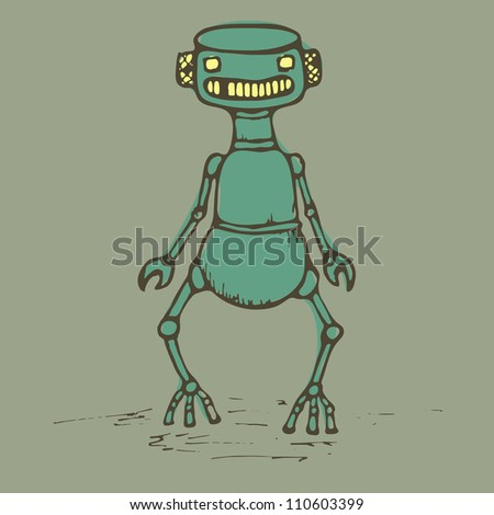 Old vintage robot staying alone, vector - stock vector