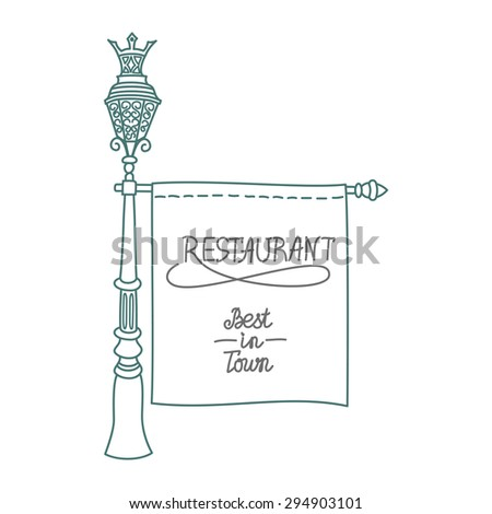 Old vintage signboard with lantern street and forged elements street,sketch - stock vector