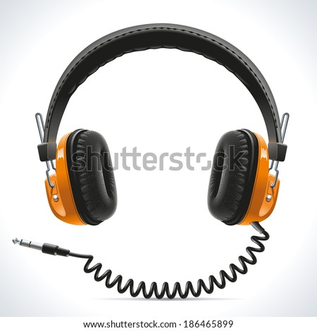 Old vintage stereo headphones with leather details and wire connection - stock vector