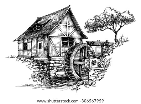 Old water mill sketch - stock vector