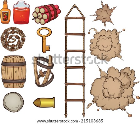 Old west items. Vector clip art illustration with simple gradients. Each item on a separate layer. - stock vector