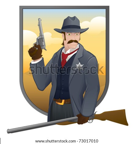 Old West Sheriff - vector - stock vector