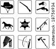 old west symbols silhouettes (also available in raster format) - stock vector