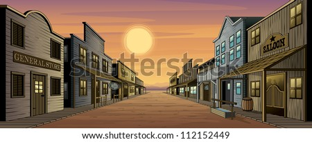 Old West Town. Vector illustration of an old west town at sunset. Town includes a general store, saloon, feed store, gun shop, hotel and several other highly detailed buildings. - stock vector