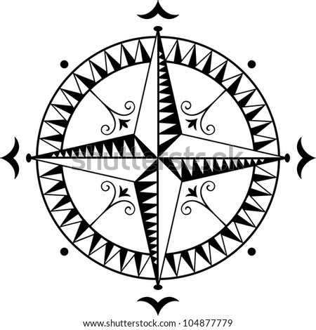 Old wind rose - stock vector