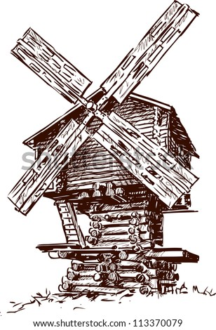 old windmill - stock vector