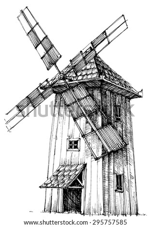 Old windmill isolated - stock vector