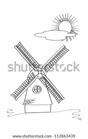 Old windmill sketch against white background - stock vector