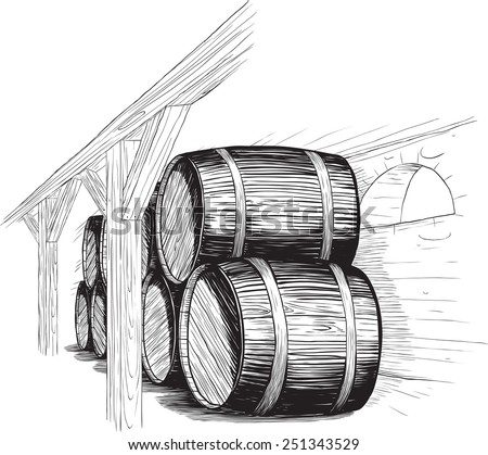 old wine cellar with rows of barrels. like woodcut technique - stock vector