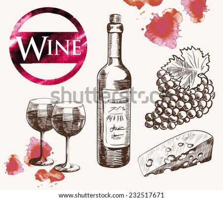 old wine tasting. handmade watercolor sketch set - stock vector