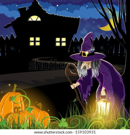 Old witch and pumpkins near the house with glowing windows. Halloween night scene   - stock vector