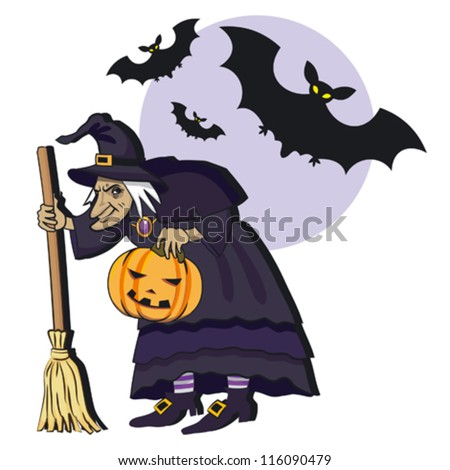 Old witch with broom; cartoon vector illustration