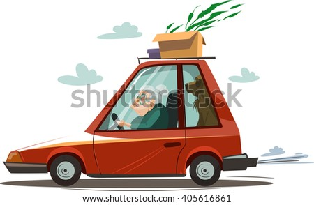 Old woman drive a red car. Vector illustration - stock vector