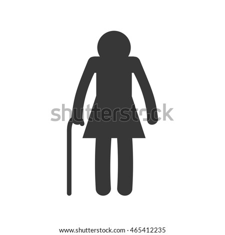 old woman female pictogram person silhouette icon. Isolated and flat illustration. Vector graphic