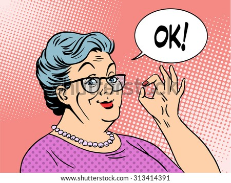 Old woman Granny gesture okay pop art style. National Grandparents Day - stock vector