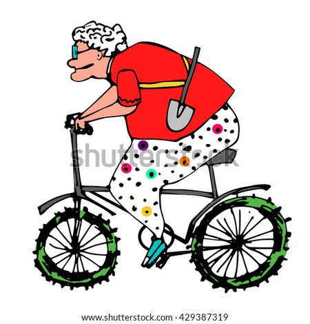 old woman sport. woman pensioner on the bike.hand drawn illustration.pants in polka dot.sports retired.elderly lady.summer resident with shovel - stock vector