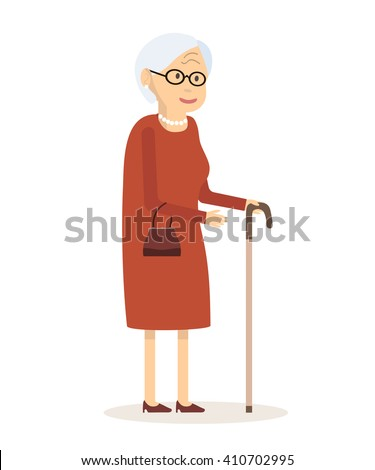 Old woman with cane. Senior lady with glasses walking. Vector illustration. Flat style. Elderly woman, old lady, grandmother, old woman face, senior, retired, old woman portrait, old woman smile - stock vector