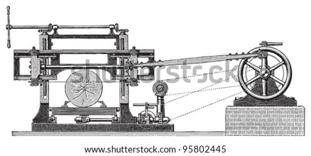 Old wood cutting machine / vintage illustration from Meyers Konversations-Lexikon 1897