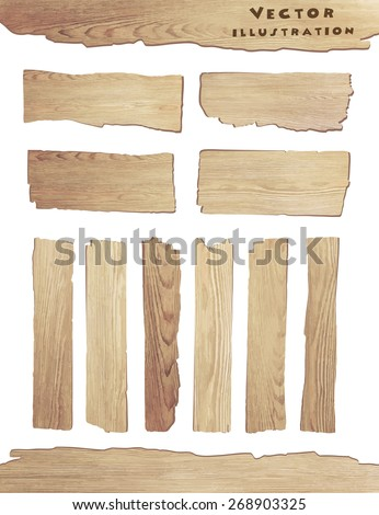 Old Wood plank isolated on white background, vector illustration